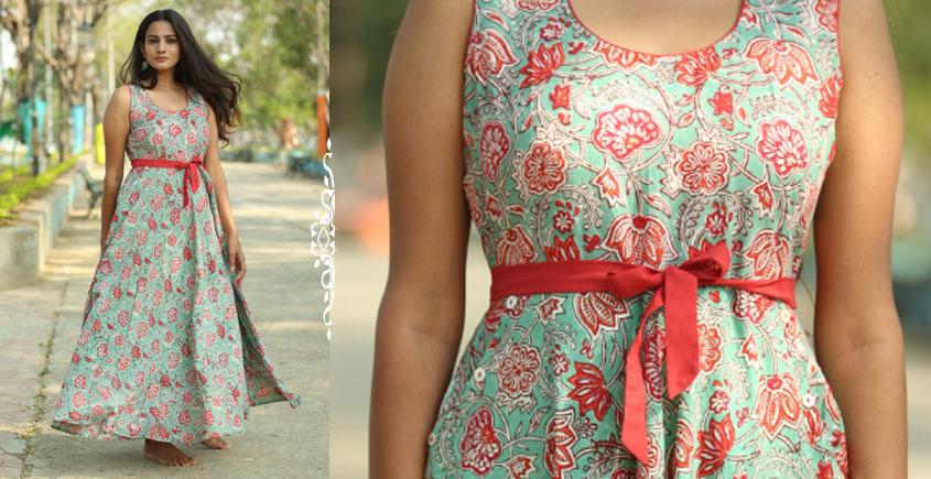 4be0ec62d6b5 Albeli ♤ Hand block printed ♤ Floral ocean green flare dress ♤ 16