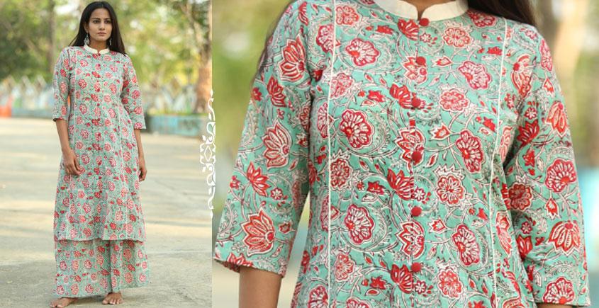 491a639a4991 Albeli ♤ Hand block printed ♤ Floral print ocean green stand collar kurti ♤  27