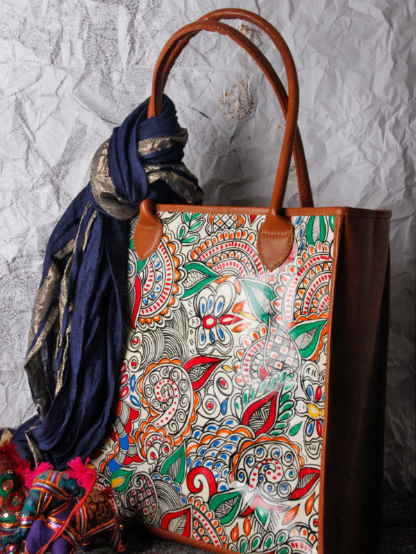 e19ccc89f7 उपवन ~ Leather   Hand Painted   TOTE-MADHUBANI DOODLE   - 2