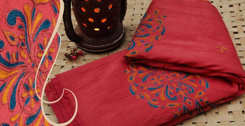 Pure Silk And Cotton Kutch Hand Embroidery Saree