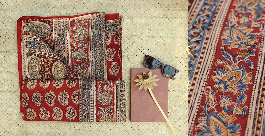 fcf900b722 Buy Natural Color Block Painted Kalamkari Cotton Saree online