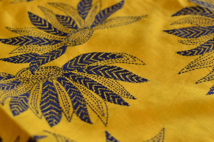 Kantha Embroidery Silk Saree Online