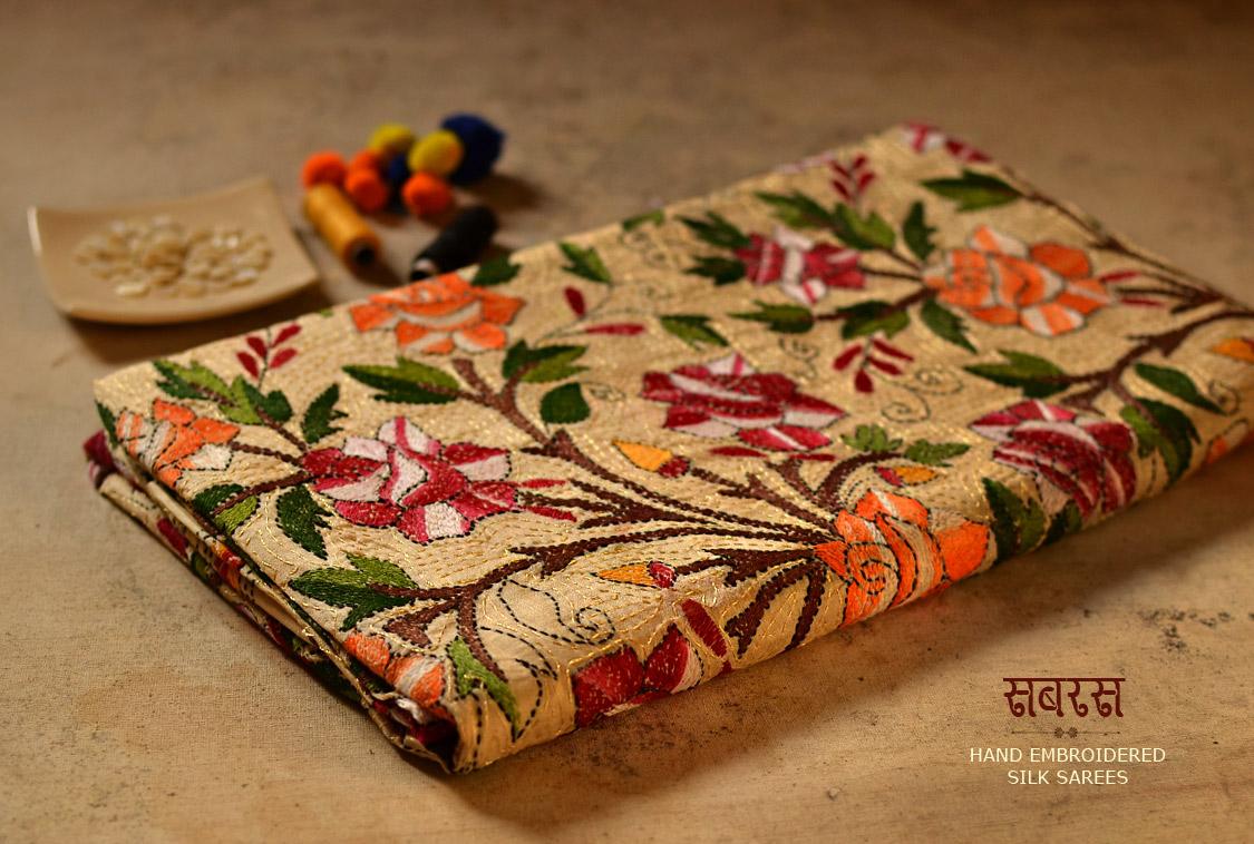 Kutch Embroidery Kantha Silk Saree
