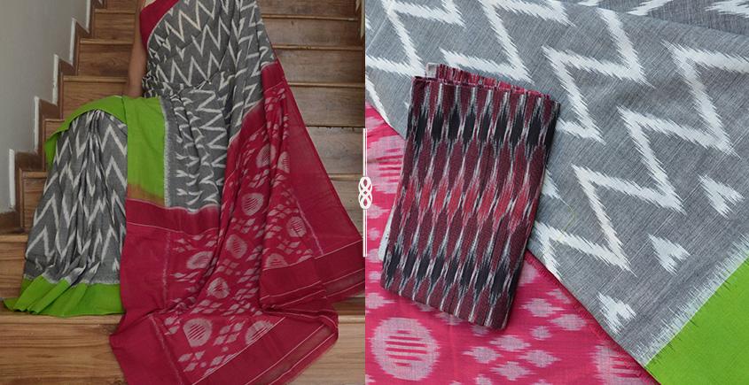 93a4987e71b50d Buy Handloom Cotton Ikat Saree with Blouse   Gaatha