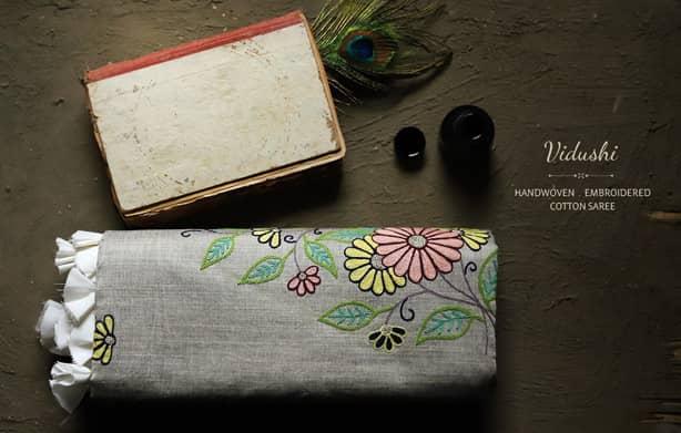 Buy-Handloom-saree-with-hand-gujarati-embridery-online