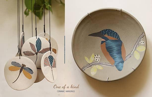 Buy-handmade-designer-ceramic-wall-hanging-&-wind-chimes