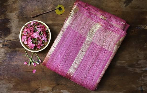 Pure-handloom-Tussar-Ghicha-Silk-Sari-buy-online